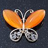 Orange Cat's Eye Stone/ Diamante Butterfly Brooch In Gold Plating - 40mm Width