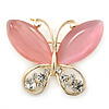 Pink Cat's Eye Stone/ Diamante Butterfly Brooch In Gold Plating - 40mm Width