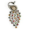 Vintage Inspired Multicoloured Swarovski Crystal 'Peacock' Brooch In Silver Tone - 63mm Length