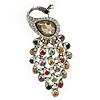 Vintage Inspired Multicoloured Swarovski Crystal 'Peacock' Brooch In Silver Tone - 63mm Length