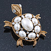Vintage Inspired Simulated Pearl, Crystal 'Turtle' Brooch In Gold Plating - 60mm Length