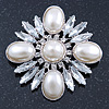 Bridal Vintage Inspired Clear Crystal, White Simulated Pearl Square Brooch In Silver Tone Metal - 60mm Across