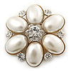 Bridal Vintage Inspired Simulated Pearl, Crystal 'Flower' Brooch In Gold Plating - 50mm Diameter