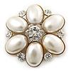 Bridal Vintage Inspired Simulated Pearl, Crystal 'Flower' Brooch In Gold Plating - 50mm Diameter