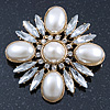 Bridal Vintage Inspired Clear Crystal, White Simulated Pearl Square Brooch In Gold Plating - 60mm Across