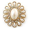 Vintage Inspired Gold Plated Simulated Pearl, Crystal Oval Brooch - 55mm Across