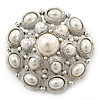 Bridal Vintage Inspired White Simulated Pearl 'Dome' Brooch In Silver Plating - 47mm Diameter