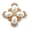 Vintage Inspired Small Simulated Pearl, Diamante 'Cross' Brooch In Gold Plating - 55mm Across