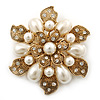 Vintage Inspired Swarovski Crystal White Simulated Pearl 'Flower' Brooch In Gold Plating - 55mm Diameter