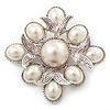 Vintage Inspired White Simulated Pearl Square Brooch In Silver Plating - 45mm Across