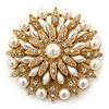 Bridal Vintage Inspired White Simulated Pearl, Austrian Crystal Layered Floral Brooch In Gold Plating - 50mm Diameter