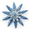 Light Blue Enamel Flower Brooch In Silver Plating - 60mm Diameter