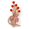 Orange Red, Pink, AB Austrian Crystal Floral Brooch In Bright Gold Metal - 65mm Length