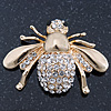 Dazzling Diamante 'Bee' Brooch In Polished Gold Tone Metal - 50mm Width