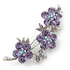 Light Purple Swarovski Crystal Floral Brooch In Rhodium Plating - 55mm Length