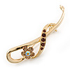 Polished Gold Plated Amber Coloured Crystal Fancy Brooch - 70mm Length