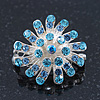 Small Light Blue Diamante Cluster Floral Brooch In Rhodium Plating - 25mm Width