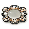 Vintage Inspired Light Grey Glass, Freshwater Pearl Oval Brooch In Antique Silver Tone - 48mm Width