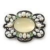 Vintage Inspired Pale Green Glass, Freshwater Pearl Oval Brooch In Antique Silver Tone - 48mm Width