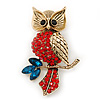Hootin Red/ Teal Crystal Owl Brooch In Antique Gold Metal - 58mm Length