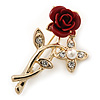 Classic Red Rose With Simulated Pearl Brooch In Gold Plating - 35mm Across