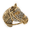 Burn Gold Diamante Horse Head Brooch - 30mm Across