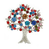 Multicoloured 'Tree Of Life' Brooch In Silver Tone Metal - 52mm Tall