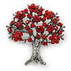 Siam Red Crystal 'Tree Of Life' Brooch In Gun Metal Finish - 52mm Length