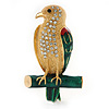Gold Plated Diamante 'Hawk' Brooch - 53mm Length