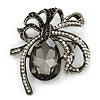Victorian Style Black, Clear Swarovski Crystal 'Bow' Brooch In Gun Metal - 50mm Across