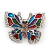 Charming Multicoloured Enamel, Crystal 'Butterfly' Brooch In Rhodium Plating - 40mm Width