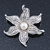 Silver Plated Textured, Crystal, Simulated Pearl 'Flower' Brooch - 55mm Width