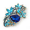 Vintage Inspired Azure, Sky Blue, Navy Blue Austrian Crystal Floral Corsage Brooch In Antique Gold Metal - 80mm Length