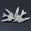 Rhodium Plated Crystal Double Swallow Brooch - 70mm Width