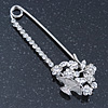 Rhodium Plated Crystal 'Flower Basket' Safety Pin - 75mm Length