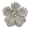 Rhodium Plated Clear Swarovski Crystal 'Flower' Brooch - 45mm Across