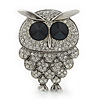 Clear Swarovski Crystal 'Owl' Brooch In Rhodium Plating - 47mm Length