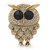 Clear Swarovski Crystal 'Owl' Brooch In Gold Plating - 47mm Length