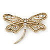 Large Crystal 'Dragonfly' Brooch In Gold Tone - 75mm Width