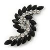 Victorian Style Black, Clear Acrylic Stone 'Leaf' Brooch In Gun Metal - 65mm Length