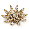 Gold Plated Clear Swarovski Crystal 3D 'Lotus' Brooch - 60mm Diameter