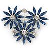 Cobalt Blue, Clear Triple Flower Corsage Brooch In Silver Tone - 75mm Across