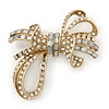 Contemporary CZ, Crystal Textured Bow Brooch In Gold Plating - 60mm Length