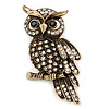 Clear Swarovski Crystal 'Owl' Brooch In Gold Plating - 60mm Length