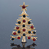 Red, Green Austrian Crystals Christmas Tree Brooch In Gold Plating - 55mm Length