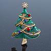 Multicoloured Austrian Crystals Green Enamel Christmas Tree Brooch In Gold Plating - 55mm Length