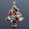 Holly Jolly Red, Green, Clear Austrian Crystals Christmas Tree Brooch In Gold Plating - 65mm Length
