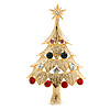 Red, Green, Clear, Pink Austrian Crystals Christmas Tree Brooch In Gold Plating - 60mm Length