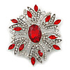Stunning Bridal Red, Clear Austrian Crystal Corsage Brooch In Rhodium Plating - 60mm Length