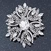 Stunning Bridal Clear Austrian Crystal Corsage Brooch In Rhodium Plating - 60mm Length